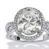 5.43 TCW CZ Ring in Platinum over Sterling Silver