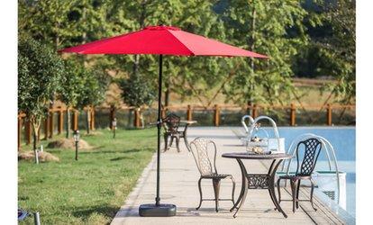 Shop Groupon 9u0027 Patio Umbrella With Umbrella Stand