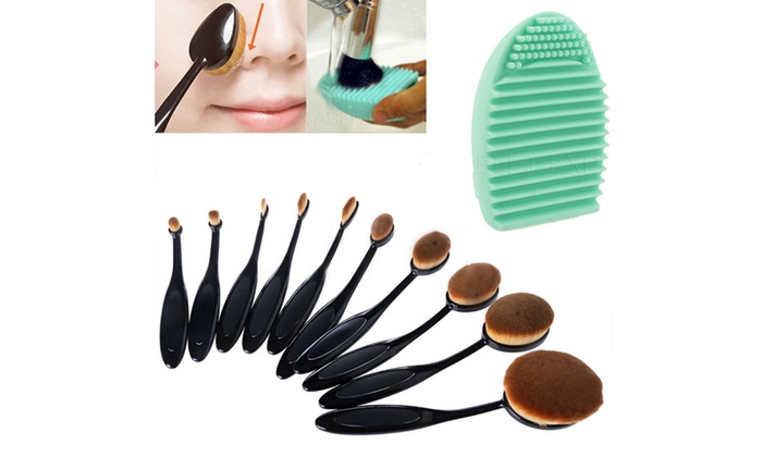 10 Piece Oval Makeup Brush Set & Brush Cleaner
