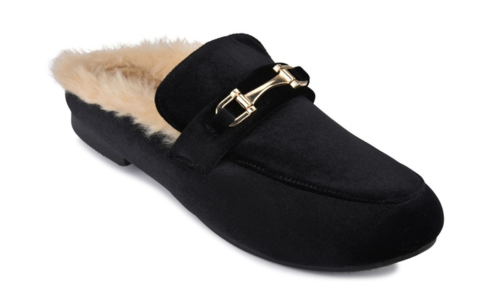 b14df94bc7d Women s Mule Open Back Loafers With Faux Fur Lining