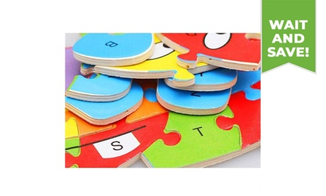 1PC Wooden Cartoon Animal Puzzles Educational Toys with 26 Alphabets for Kids