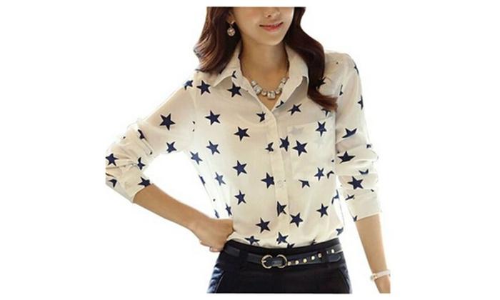 Women's Chiffon Slim Fit Star Printed Long Sleeve Shirt Blouse