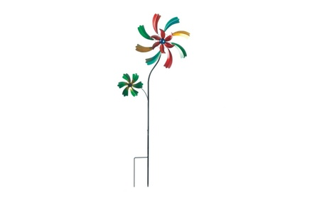 Vibrant Wildflower Iron Windmill Garden Stake 23f0869d-29db-4375-9743-bd838a52aff6