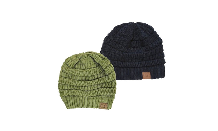 Chunky Cable Knit Beanie, 2 Pack: Olive/Navy