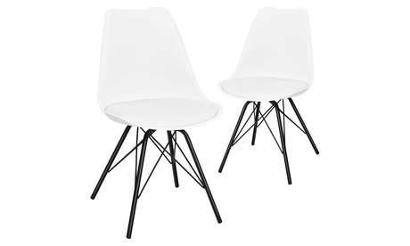 Costway Set of 2 Dining Chair Mid Century Modern Side Chairs with PU Seat White