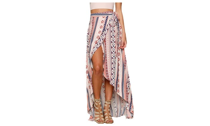 Women's Ethnic Print Maxi Skirt Wrapped Beach Dress - one size