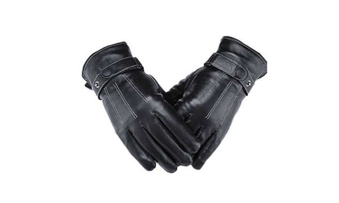 HYXU Men's Lambskin Leather Cold Weather Screen Touch Gloves