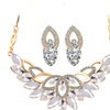 Gold 3 Color Crystal Flower Necklace Earring Set for Women