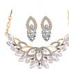 Gold Color Flower Bridal Crystal Rhinestone Vintage Jewelry Sets