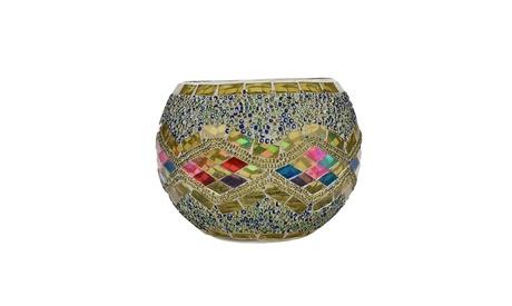 Inverlee Handmade Mosaic Glass Candlestick Wedding Ornaments Candleholder