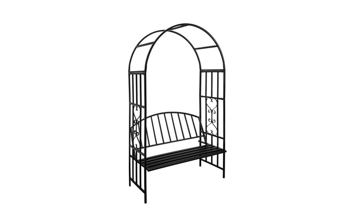 Metal Garden Arch Bench Pergola Trellis Seat Metal Garden Furniture ...