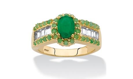 12.37 TCW Genuine Green Emerald & White Topaz Ring 3d1e4d2b-d3d8-4424-ade0-8531724b6557
