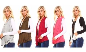 Isaac Liev Women's Lightweight Flyaway Cardigan Vest