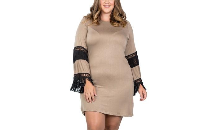 1fd31bf4810e Ladies fashion plus size boho mocha black contrast crochet mini dress