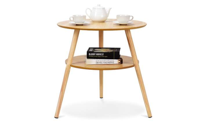 Up To Off On Tier Round End Coffee Table Groupon Goods - 2 tier round coffee table