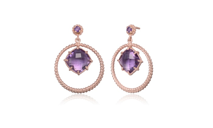 Gold Overlay Suspended Purple Cubic Zirconia Earrings