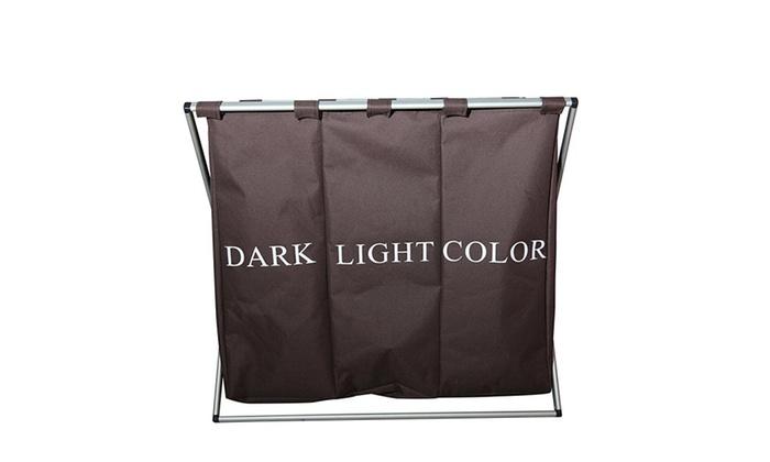 Triple Compartment Dark Light Color Laundry Hamper Groupon