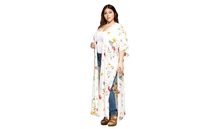 1b2d835fb ... Xehar Women's Plus Size Open Front Floral Loose Long Kimono Cardigan ...