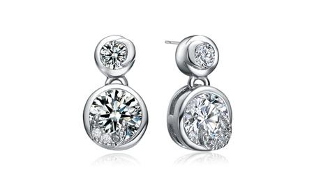 Cubic Sterling Silver Round Drop Earrings c05bdde9-fdea-4f3b-b5d9-f42b4a980f25