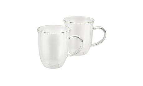BonJour Coffee Insulated Borosilicate Glass Cappuccino Cups 2pc Set 8oz Each b56140fd-2575-45e3-b932-043765e465dd