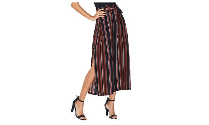 352633a5372f Women Ladies Striped Wide Leg Pants Split Tie High Slit Loose Trousers