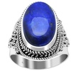 Handmade Sterling Silver Oxidized Bali Beaded Lapis Gemstone Ring