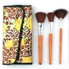 Professional Makeup Brush Set (12-Piece) with Leopard Print Pouch