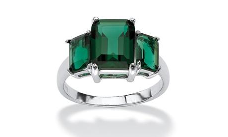 Emerald-Cut Green Crystal Ring in Sterling Silver 7aecfdd8-b151-4041-b33b-9c28d590d105