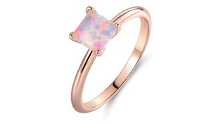 White Fire Opal and 18K Rose Gold Plating Solitaire Ring by Peermont