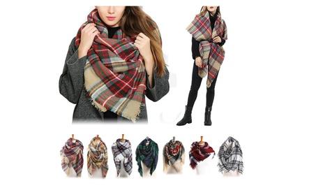 Women's Oversized Blanket Scarves Wrap Pashmina Shawl Plaid Checker f9d6cdd4-7a9d-4acf-bc25-f3049ff7074e