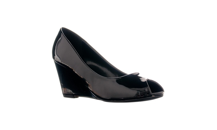 Riverberry Women's 'Dear' Patent Peep Toe Wedge Pumps, Black