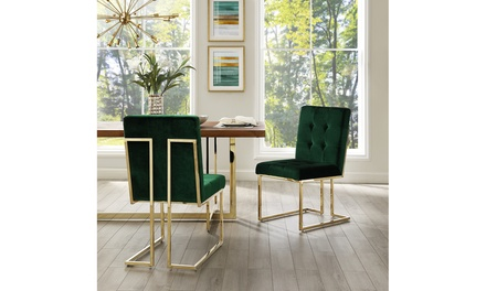 Astor Button Tufted Dining Chair Square Arms / Armless Frame - Set of 2