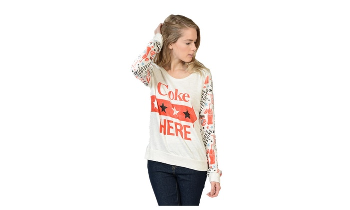 Coca Cola Mix Print Mesh Out Back Sweater