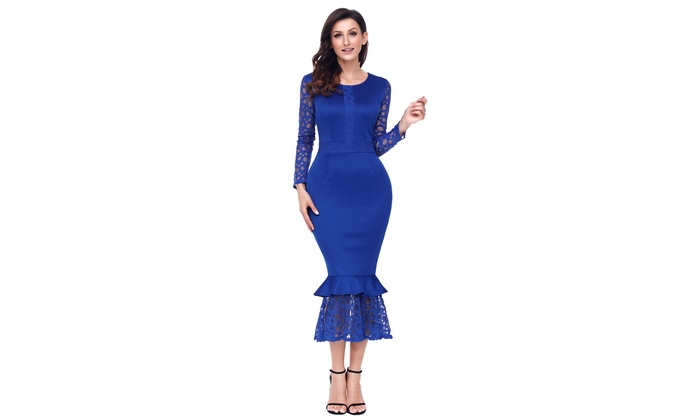 67c8c7984dc Women s Pink Hollow-out Long Sleeve Lace Ruffle Bodycon Midi Dress