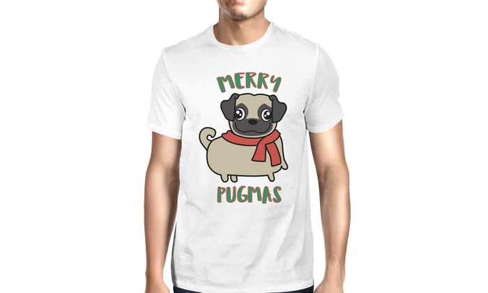 e7f5bef0 365 Printing Merry Pugmas Pug Mens White Christmas T-Shirt Gift For Pug  Owners