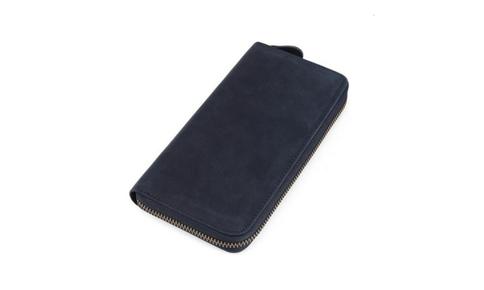 Unisex Leather Zipper Long Wallet