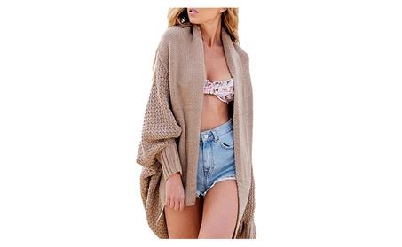 Women's Long Sleeve Warm Batwing Knitted Cardigan Sweater Coat f6954f65-a9c6-47c1-8864-f266ece88684