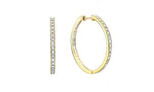 Large Diamond Accent Hoop Earrings