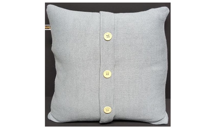 Throw Pillow Button Closure : Decorative Throw Sweater Knit With Wooden Button Closure Pillow 17x17 Groupon