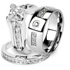 His & Hers Stainless Steel Princess Bridal Ring Set & Zirconia Band