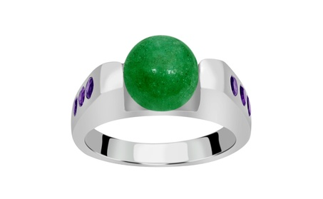 Orchid Jewelry Sterling Silver Aventurine and Amethyst Fashion Ring 6f822ca8-15ba-4e60-b837-7be814903d96