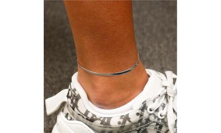 Italian Sterling Silver Herringbone Anklet 9 Inch or 10 Inch
