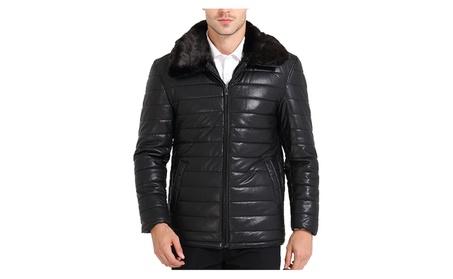 Men's Cold Winter Faux Fur Collar Leather Jacket Puffers 76b4260a-f12a-4d27-945e-d592eaa2d315