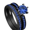Blue Zircon Black gold Bridal Women Set