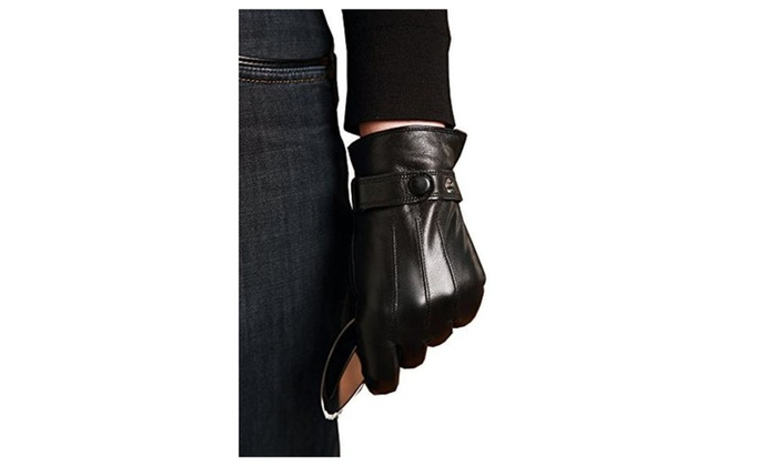 Men's Touch Screen Thick Driving Genuine Leather Gloves