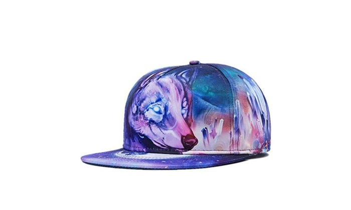 Men's Flat Bill Hats Wolf 3D Print Hat Adjustable Snapback Hats Hip Hop Cap - Multicoloured / Medium