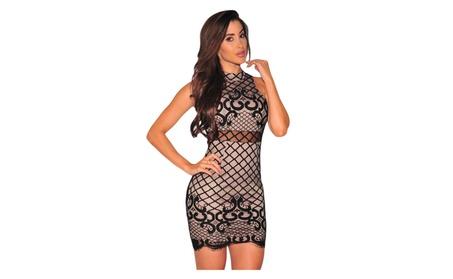 Women's Black Nude Illusion Dreamy Lace Up Back Dress 451f14ab-dd1b-40a5-8ea5-ab6e4ed2bf58