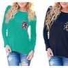 Lady Leopard Stitching Long Sleeve T-Shirt