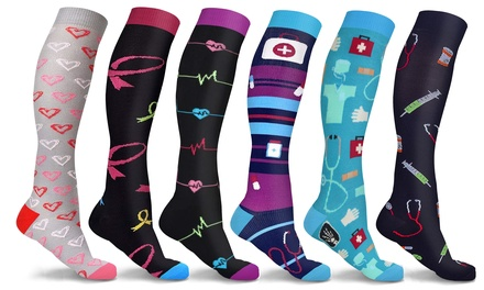 DCF Knee High-Compression Sock Collection (3- or 6-Pack)