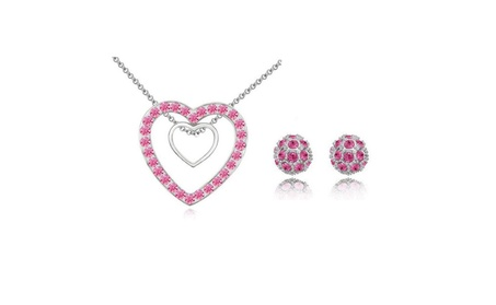 Swarovski Crystal Double Heart Necklace For Women Wedding Jewelry Sets 609d50e5-0a8e-491b-aa91-50ae15f58cab